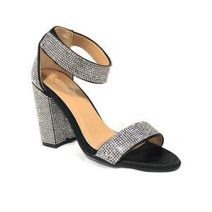 Italina Black Silver Rhinestones Block Heels